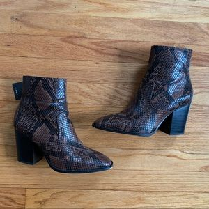 Zara Shoes - Zara New Brown Snake Skin Ankle Booties